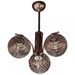 Midcentury Organic Modern Smoked Clear Textured Three Globe Chrome Chandelier - 1459760