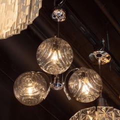 Midcentury Organic Modern Smoked Clear Textured Three Globe Chrome Chandelier - 1459761