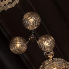 Midcentury Organic Modern Smoked Clear Textured Three Globe Chrome Chandelier - 1459762