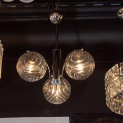Midcentury Organic Modern Smoked Clear Textured Three Globe Chrome Chandelier - 1459763