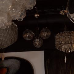 Midcentury Organic Modern Smoked Clear Textured Three Globe Chrome Chandelier - 1459777