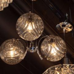 Midcentury Organic Modern Smoked Clear Textured Three Globe Chrome Chandelier - 1459785