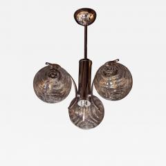 Midcentury Organic Modern Smoked Clear Textured Three Globe Chrome Chandelier - 1461802