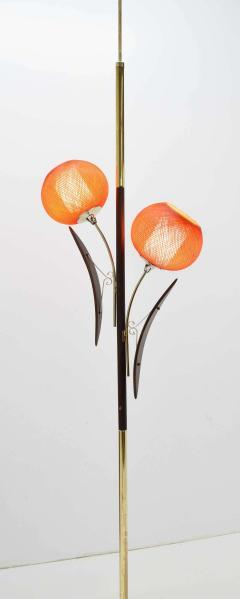 Midcentury Tension Pole Lamp with Spun Fiberglass Shades - 1271753