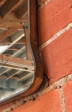 Midcentury Wall Mirror Brass Frame Minimal Design 1950s - 1251716