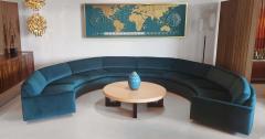 Milo Baughman 1960s Milo Baughman for Thayer Coggin Circular Sofa Fully Restored Teal Velvet - 1517965