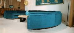 Milo Baughman 1960s Milo Baughman for Thayer Coggin Circular Sofa Fully Restored Teal Velvet - 1517968