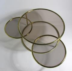 Milo Baughman American Modern Brass Smoked Glass Three Ring Coffee Table - 1209791