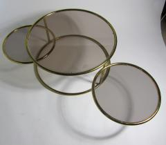 Milo Baughman American Modern Brass Smoked Glass Three Ring Coffee Table - 1209792