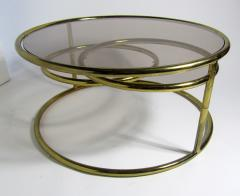 Milo Baughman American Modern Brass Smoked Glass Three Ring Coffee Table - 1209793