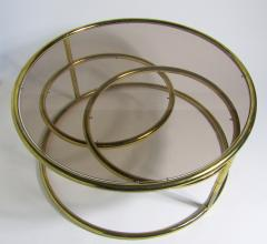 Milo Baughman American Modern Brass Smoked Glass Three Ring Coffee Table - 1209794