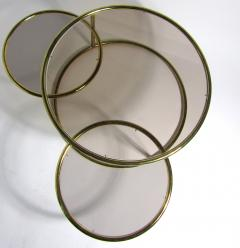 Milo Baughman American Modern Brass Smoked Glass Three Ring Coffee Table - 1209795