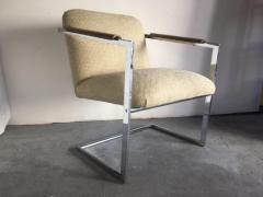 Milo Baughman Architectural Chrome Chairs in the Manner of Milo Baughman a Pair - 1126144