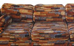 Milo Baughman Brick Mid Century Modern Chrome Fabric Jack Lenor Larsen Milo Baughman Type Sofa - 1763509