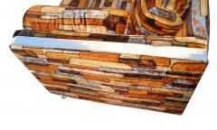 Milo Baughman Brick Mid Century Modern Chrome Fabric Jack Lenor Larsen Milo Baughman Type Sofa - 1763527