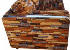Milo Baughman Brick Mid Century Modern Chrome Fabric Jack Lenor Larsen Milo Baughman Type Sofa - 1763539