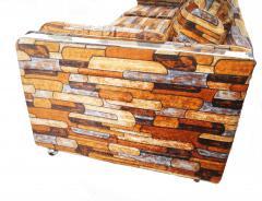 Milo Baughman Brick Mid Century Modern Chrome Fabric Jack Lenor Larsen Milo Baughman Type Sofa - 1763542