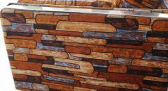Milo Baughman Brick Mid Century Modern Chrome Fabric Jack Lenor Larsen Milo Baughman Type Sofa - 1763547