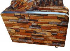 Milo Baughman Brick Mid Century Modern Chrome Fabric Jack Lenor Larsen Milo Baughman Type Sofa - 1763553