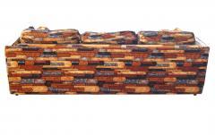 Milo Baughman Brick Mid Century Modern Chrome Fabric Jack Lenor Larsen Milo Baughman Type Sofa - 1763555