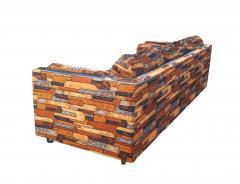 Milo Baughman Brick Mid Century Modern Chrome Fabric Jack Lenor Larsen Milo Baughman Type Sofa - 1763642