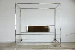 milo baughman - cubistic king-size four-poster chrome canopy bed
