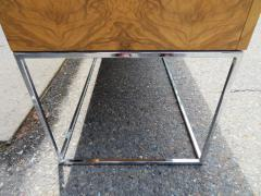 Milo Baughman Dramatic Milo Baughman Burled Olive Wood Chrome Credenza Mid Century Modern - 1222507