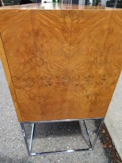 Milo Baughman Dramatic Milo Baughman Burled Olive Wood Chrome Credenza Mid Century Modern - 1222513