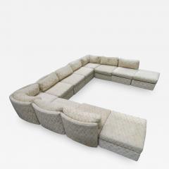 Milo Baughman Extra Large Milo Baughman 11 Piece Curved Back Cube Sectional Sofa Midcentury - 1711462