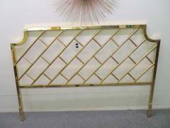 Milo Baughman Fantastic Tall Brass Lattice Hollywood Regency King Size Headboard - 1629331