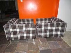 Milo Baughman Handsome Pair of Milo Baughman Style Plaid Chrome Cube Lounge Chairs - 1222522