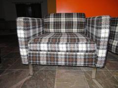 Milo Baughman Handsome Pair of Milo Baughman Style Plaid Chrome Cube Lounge Chairs - 1222523