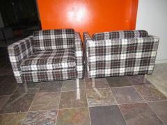 Milo Baughman Handsome Pair of Milo Baughman Style Plaid Chrome Cube Lounge Chairs - 1222524