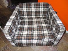 Milo Baughman Handsome Pair of Milo Baughman Style Plaid Chrome Cube Lounge Chairs - 1222525