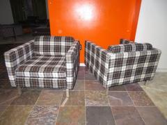 Milo Baughman Handsome Pair of Milo Baughman Style Plaid Chrome Cube Lounge Chairs - 1222527