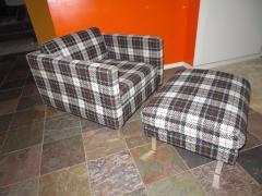 Milo Baughman Handsome Pair of Milo Baughman Style Plaid Chrome Cube Lounge Chairs - 1222530