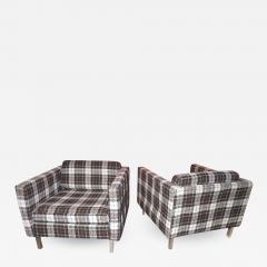 Milo Baughman Handsome Pair of Milo Baughman Style Plaid Chrome Cube Lounge Chairs - 1223584