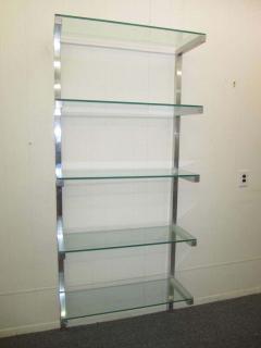 Milo Baughman Lovely Pair of Floating Aluminum and Glass Shelves Etagere Mid century Modern - 1843600