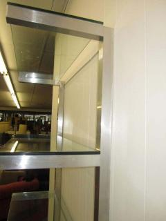 Milo Baughman Lovely Pair of Floating Aluminum and Glass Shelves Etagere Mid century Modern - 1843604