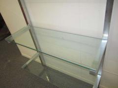 Milo Baughman Lovely Pair of Floating Aluminum and Glass Shelves Etagere Mid century Modern - 1843605