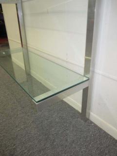 Milo Baughman Lovely Pair of Floating Aluminum and Glass Shelves Etagere Mid century Modern - 1843607