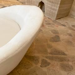 Milo Baughman MILO BAUGHMAN Luxurious White Round Loveseat Sofa Lounge Gold Leaf Base 1970s - 2019934