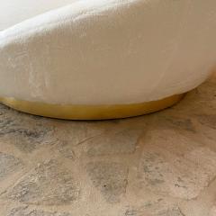 Milo Baughman MILO BAUGHMAN Luxurious White Round Loveseat Sofa Lounge Gold Leaf Base 1970s - 2019935
