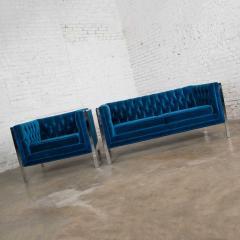 Milo Baughman Mcm royal blue velvet chrome cube loveseat chair after milo baughman - 1843739