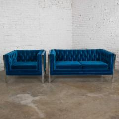 Milo Baughman Mcm royal blue velvet chrome cube loveseat chair after milo baughman - 1843740