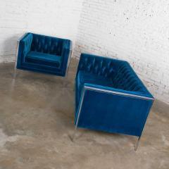 Milo Baughman Mcm royal blue velvet chrome cube loveseat chair after milo baughman - 1843763