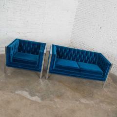 Milo Baughman Mcm royal blue velvet chrome cube loveseat chair after milo baughman - 1843764