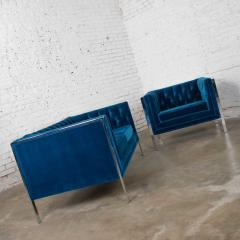 Milo Baughman Mcm royal blue velvet chrome cube loveseat chair after milo baughman - 1843768