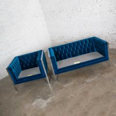 Milo Baughman Mcm royal blue velvet chrome cube loveseat chair after milo baughman - 1843772