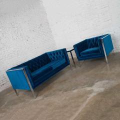 Milo Baughman Mcm royal blue velvet chrome cube loveseat chair after milo baughman - 1843778